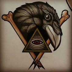 Drawn raven traditional #bones Hand Women Tattoo Pinterest