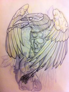 Drawn raven traditional Tattoo neo Search Zeichnen