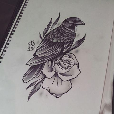 Drawn raven traditional Flower 20+ Best Raven tattoo