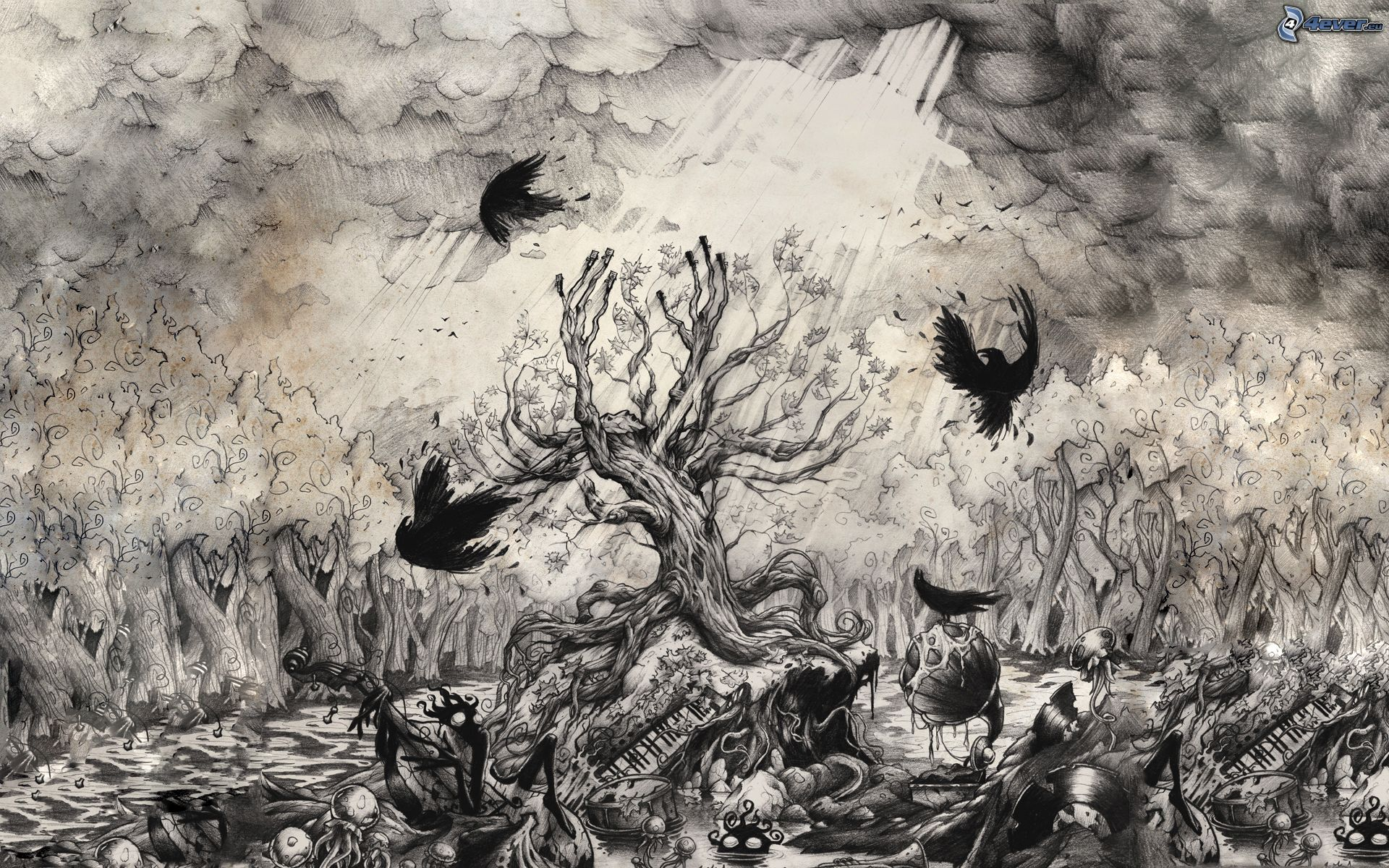 Drawn raven tree Jpg tree forest 172485 crows