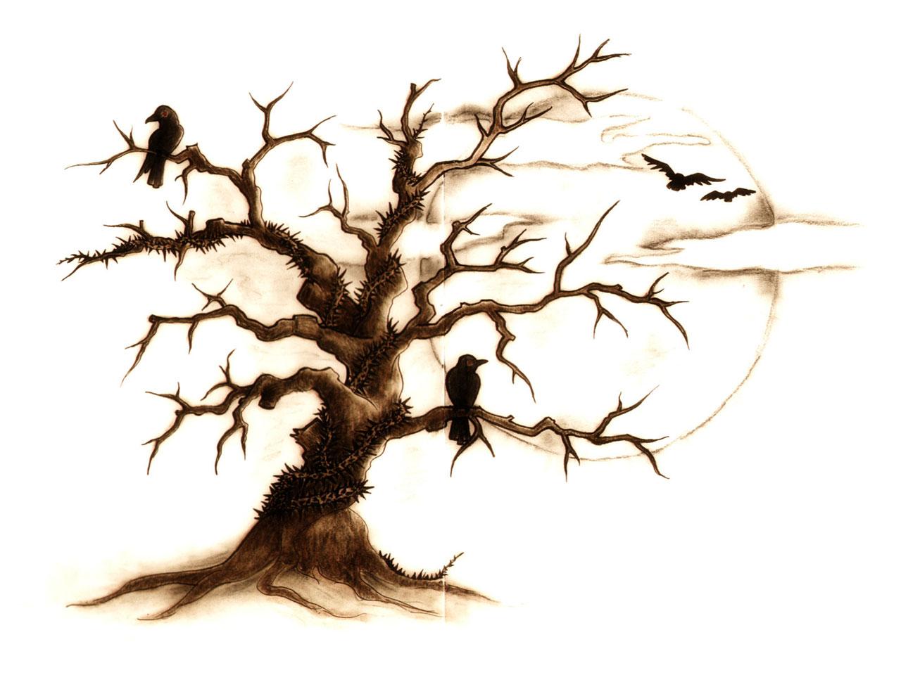 Drawn raven tree Tattoo blossom & design 97