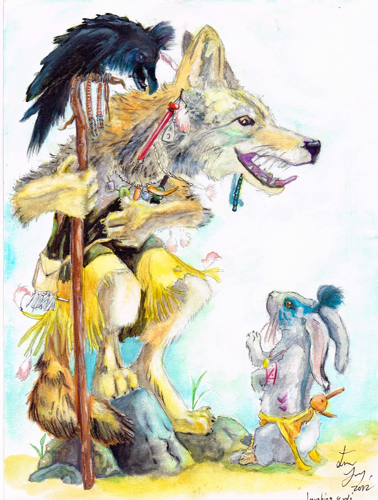 Drawn raven trickster Coyote Ravens & trickster Rabbit