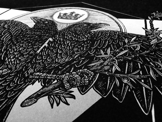 Drawn raven two headed Print Two Rune Art Headed