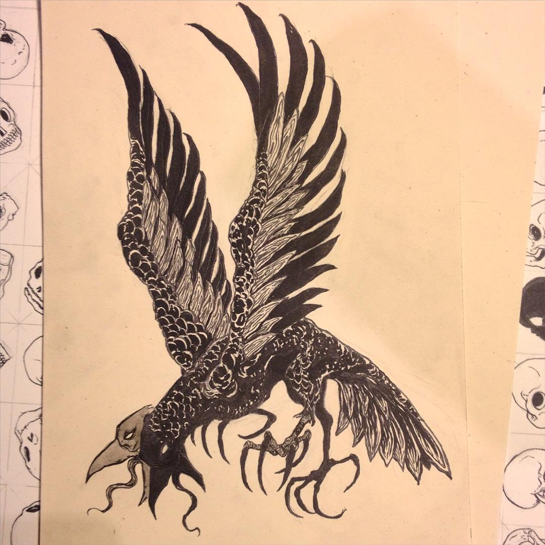 Drawn raven two headed #wip #ink headed thingy legged