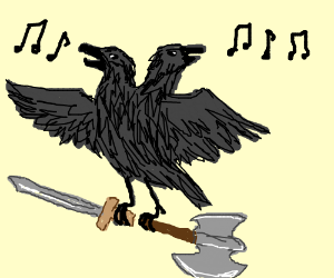 Drawn raven two headed (drawing headed crow weapons by