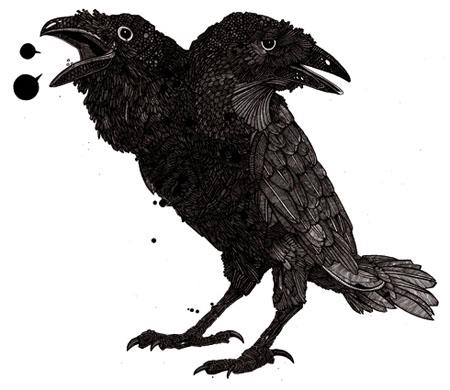 Drawn raven two headed Di Two by  Nicholas