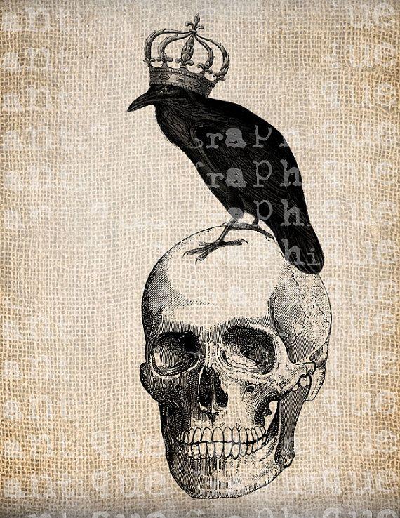 Drawn raven victorian Antique images Skull/Crow/Owl Digital Crown