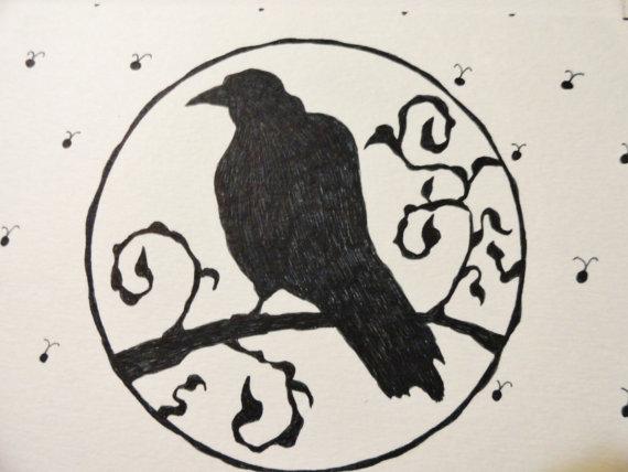 Drawn raven victorian Black Hand Art Deco Crow