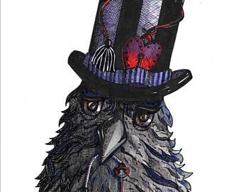Drawn raven victorian Crow Hand Hat Drawn Print