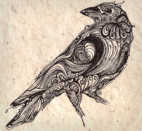 Drawn raven victorian Crow name flickr given) crow
