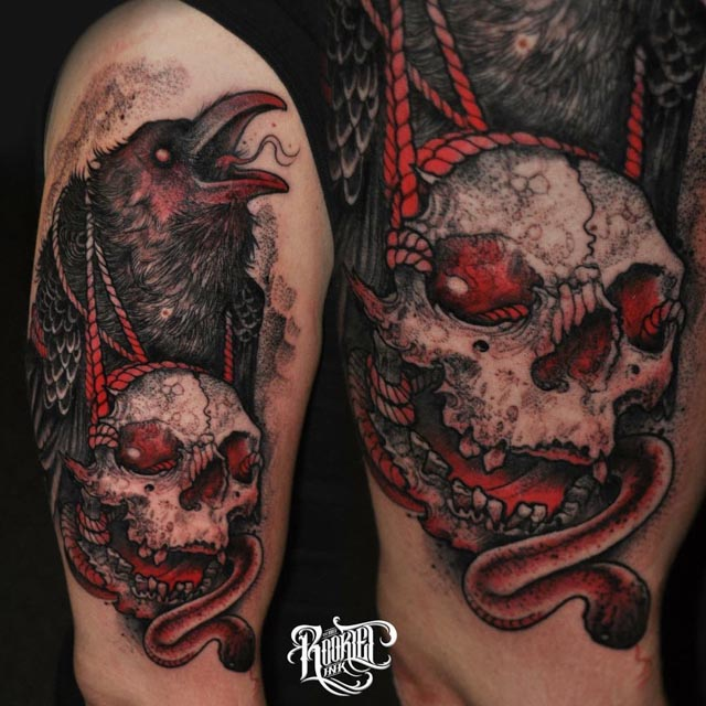 Drawn raven wicked Hell Gallery skull Tattoo and
