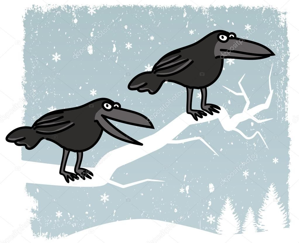 Drawn raven winter Scenery) on Crows Stock Illustration