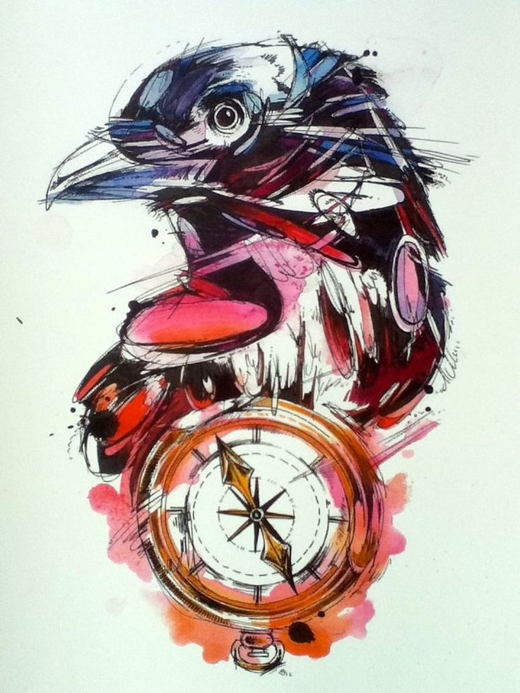 Drawn raven winter Tattoo raven Colorful Tattooimages biz