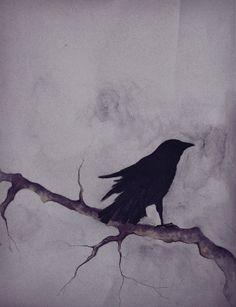 Drawn raven winter Custom original Winter drawing Pen