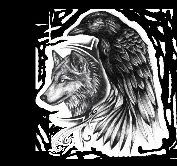 Drawn raven wolf Tattoo Ideas idea Pinterest and