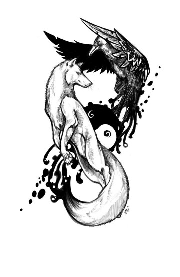 Drawn raven wolf Pinterest Wolf Ideas  tattoo
