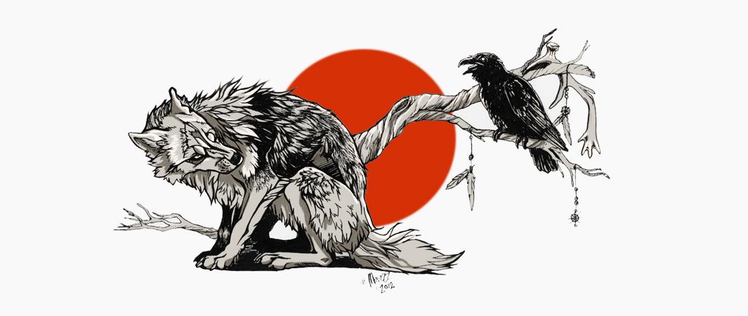 Drawn raven wolf On design biz by tattoo