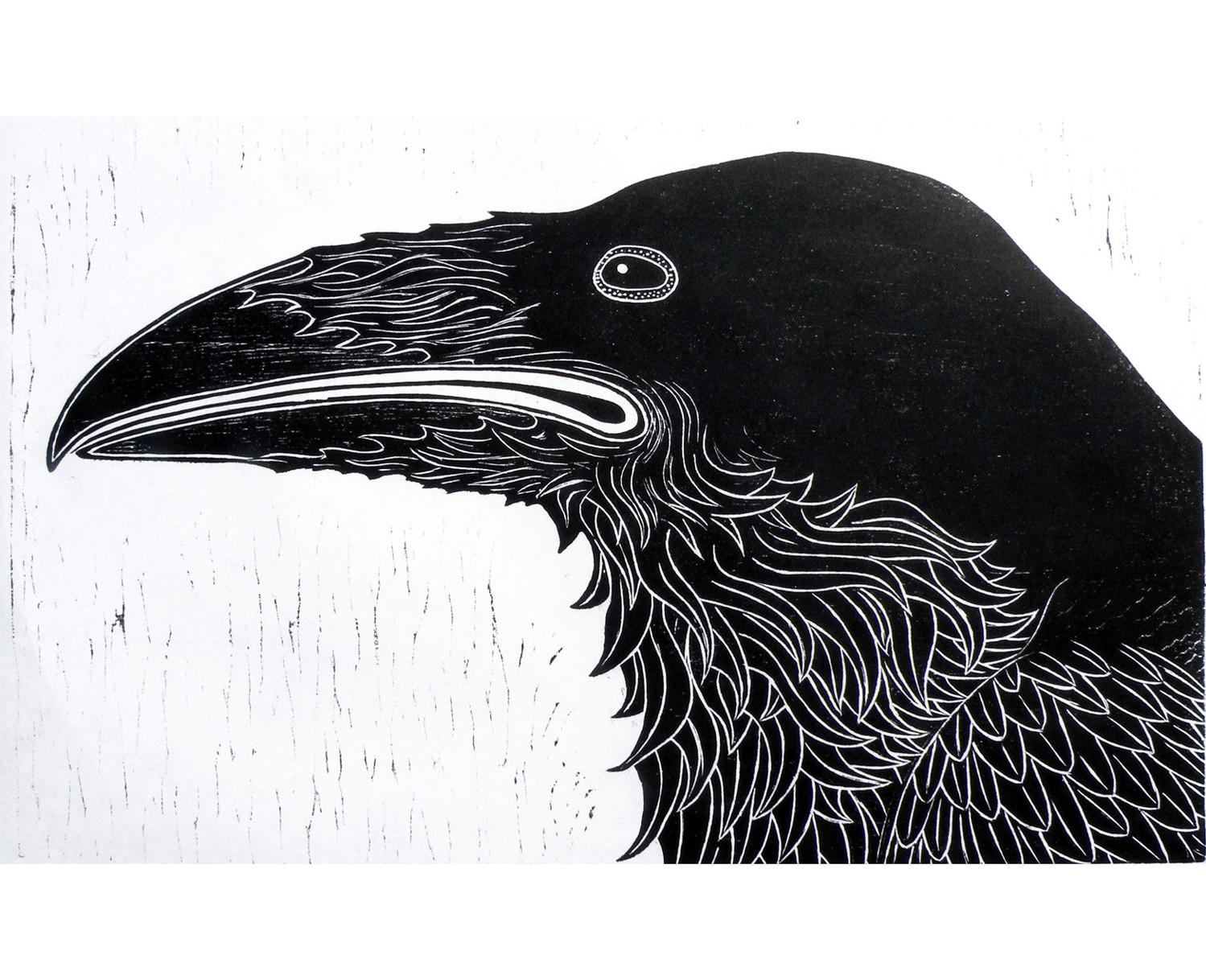 Drawn raven woodcut Raven Woodblock wall Print Raven