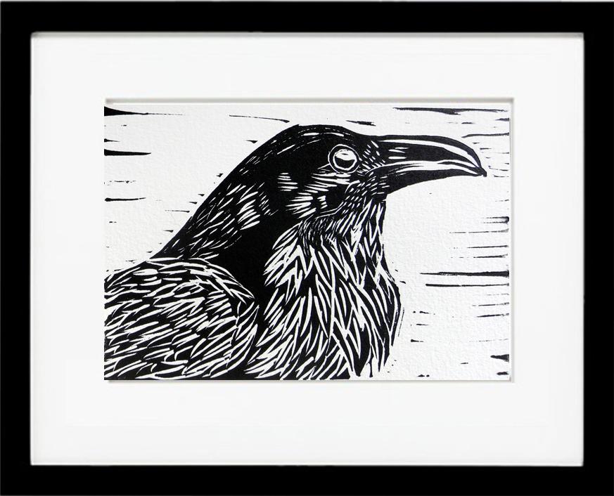 Drawn raven woodcut  to two of invigorating