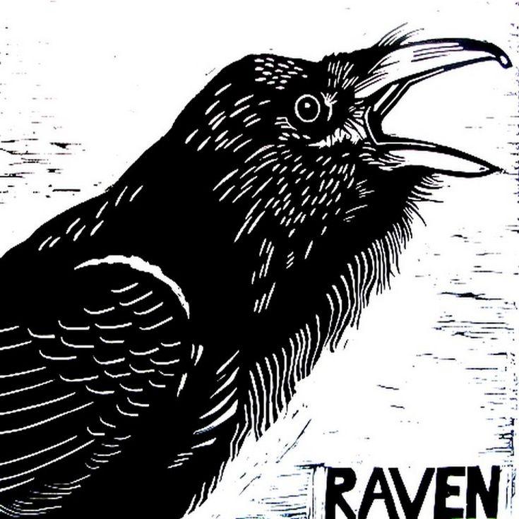 Drawn raven woodcut ARTFINDER: Woodcut Lino on Raven