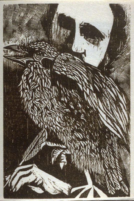 Drawn raven woodcut Antonio Pinterest frasconi (poe 'untitled