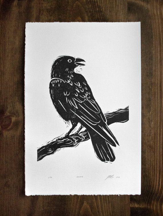 Drawn raven woodcut Raven Pinterest Linocut x 15