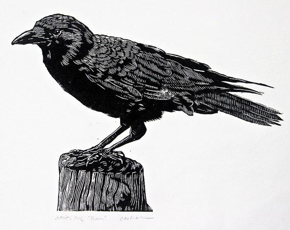 Drawn raven woodcut Raven woodblock woodblock print print