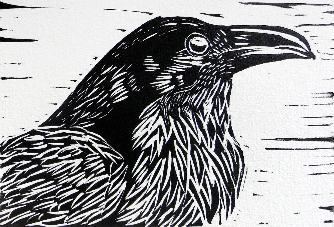 Drawn raven woodcut Black Raven Raven Linocut Hilary