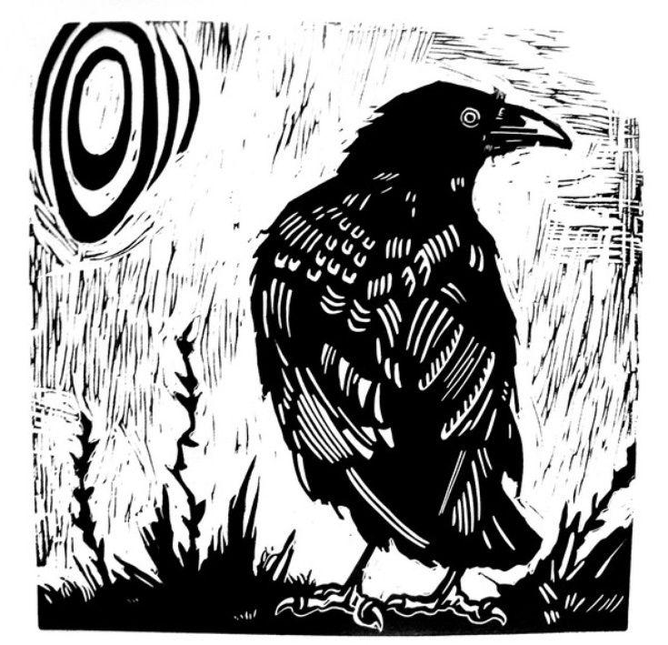 Drawn raven woodcut ARTFINDER: Pinterest CROW Laurel by
