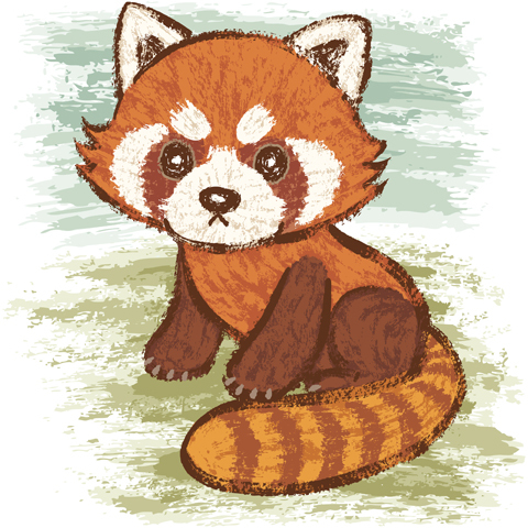 Drawn red panda cartoon For cute Sanogawa a by