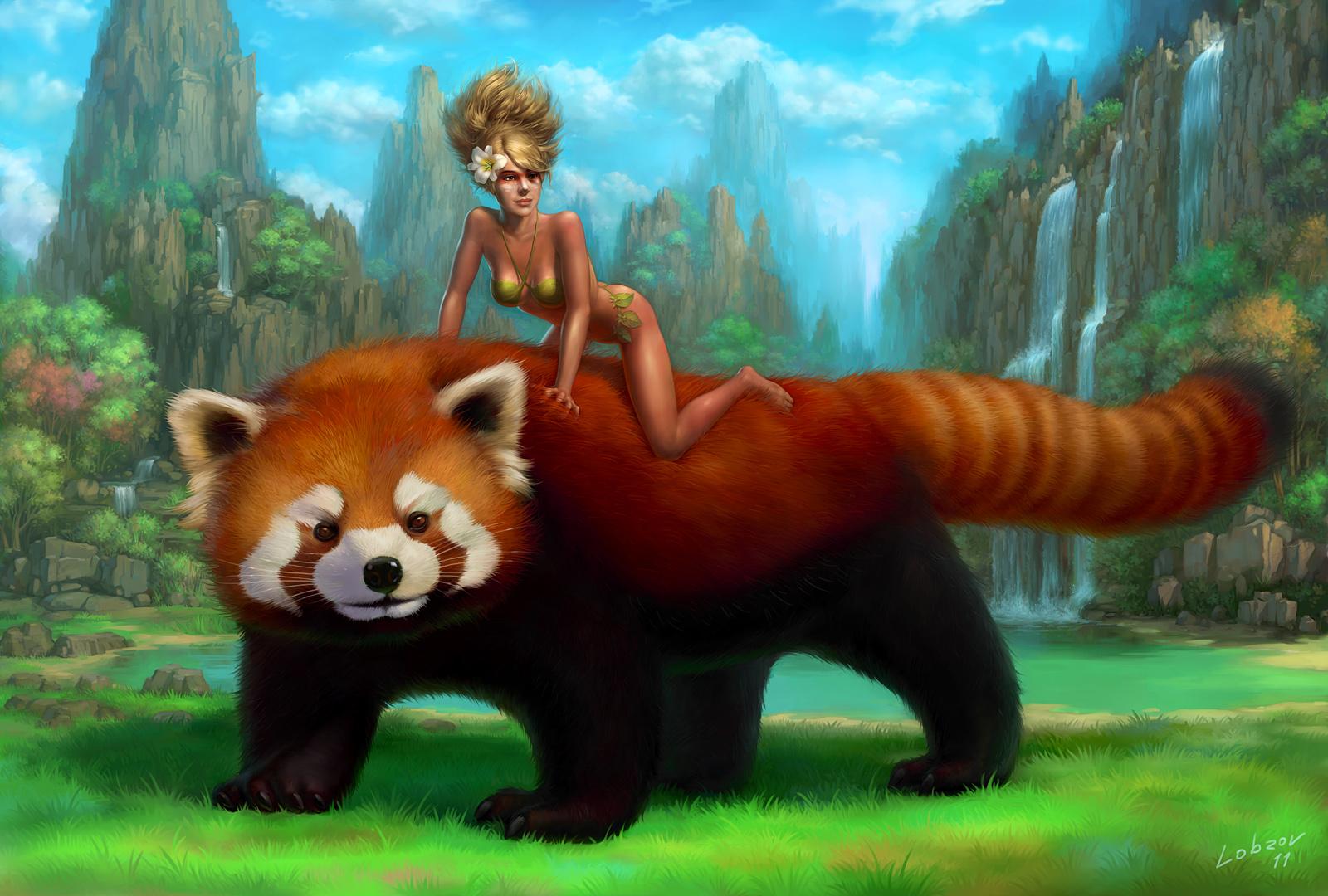 Drawn red panda china red Painting Panda Red painting Red