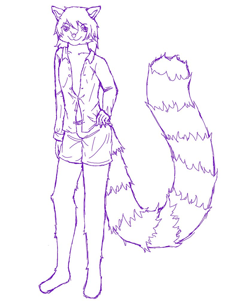 Drawn red panda fursona On New by Red by