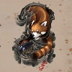 Drawn red panda japanese Nice japan / Japanese Red