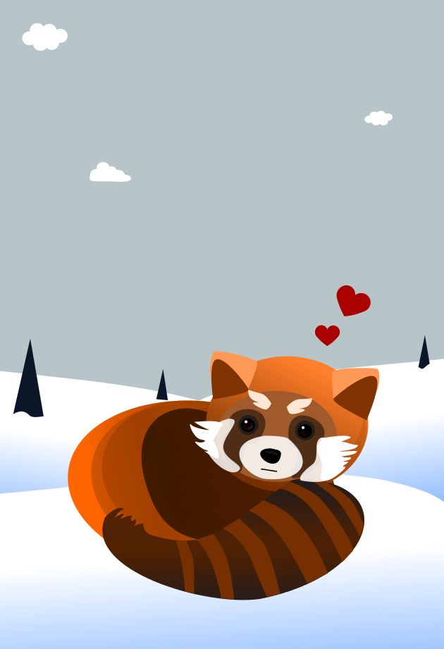 Drawn red panda japanese Inkscape 194 drawing done Red