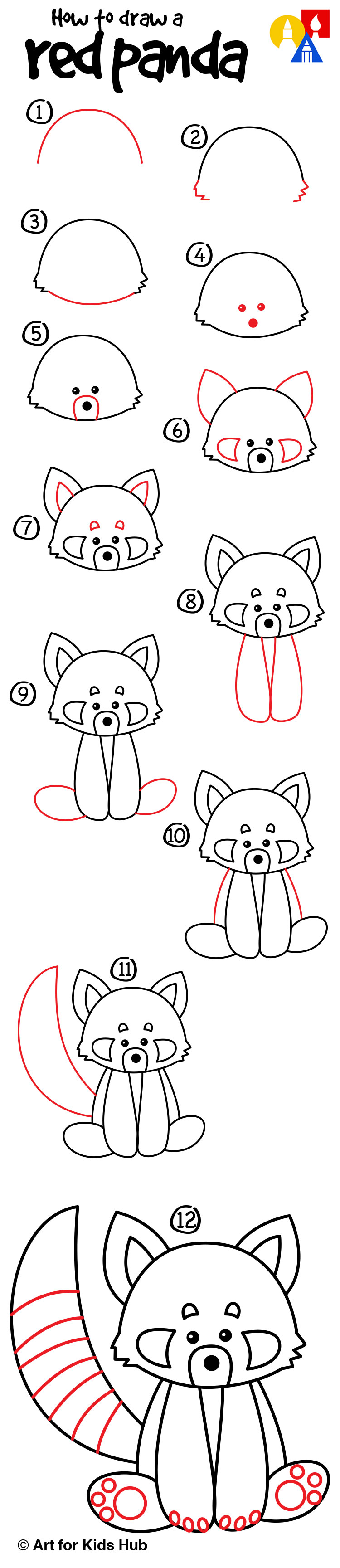 Drawn red panda step by step Draw Draw Panda To Learning