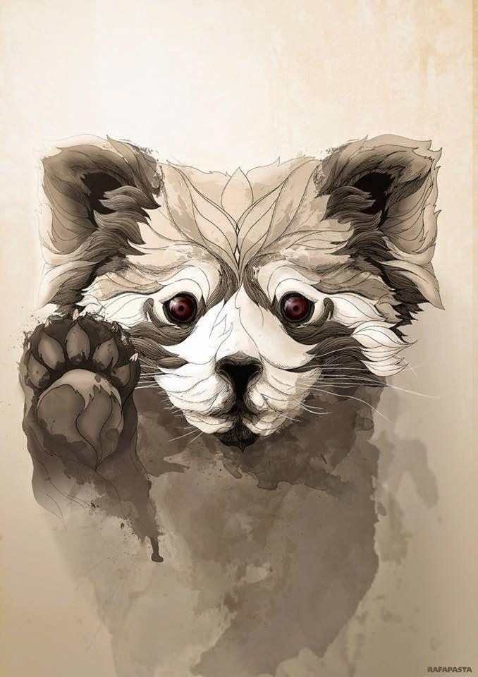 Drawn red panda tree Naturaleza Best Pandas Pinterest Ilustración: