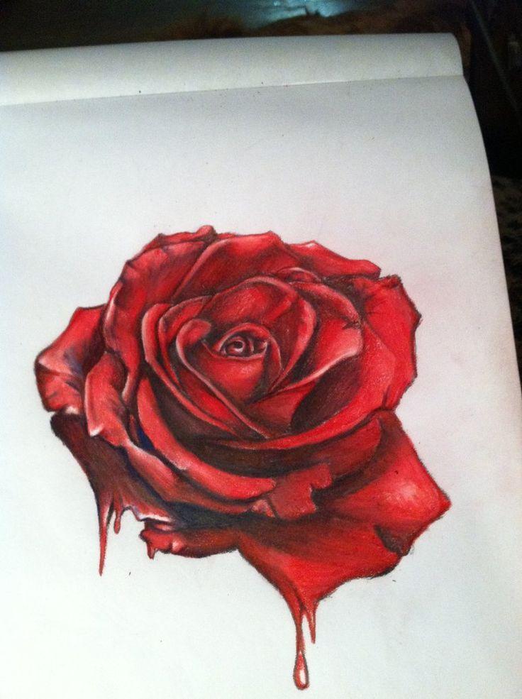 Drawn red rose Best hyper ideas drawings deviantart