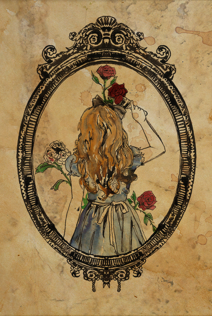 Drawn red rose alice in wonderland Woodger red Heart by It