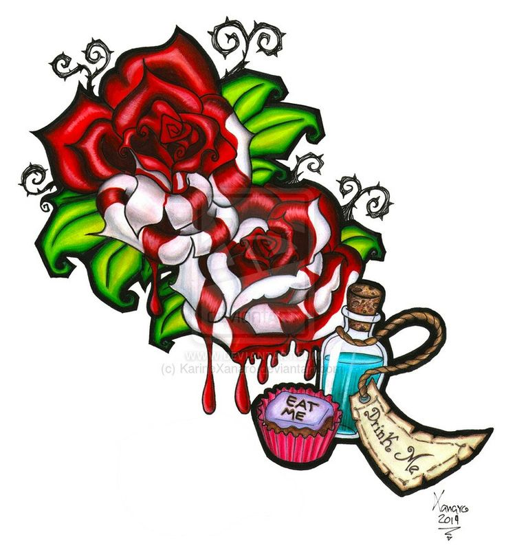 Drawn red rose alice in wonderland Pinterest tattoo Painting Me Red