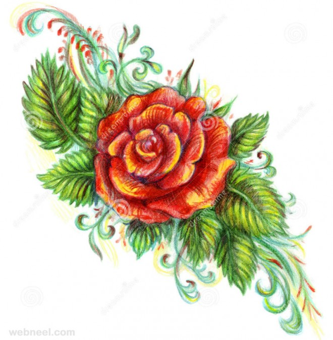 Drawn red rose art Your for Paintings rose inspiration