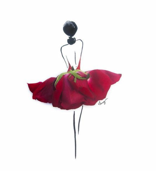 Drawn red rose art Woman red 110 a from