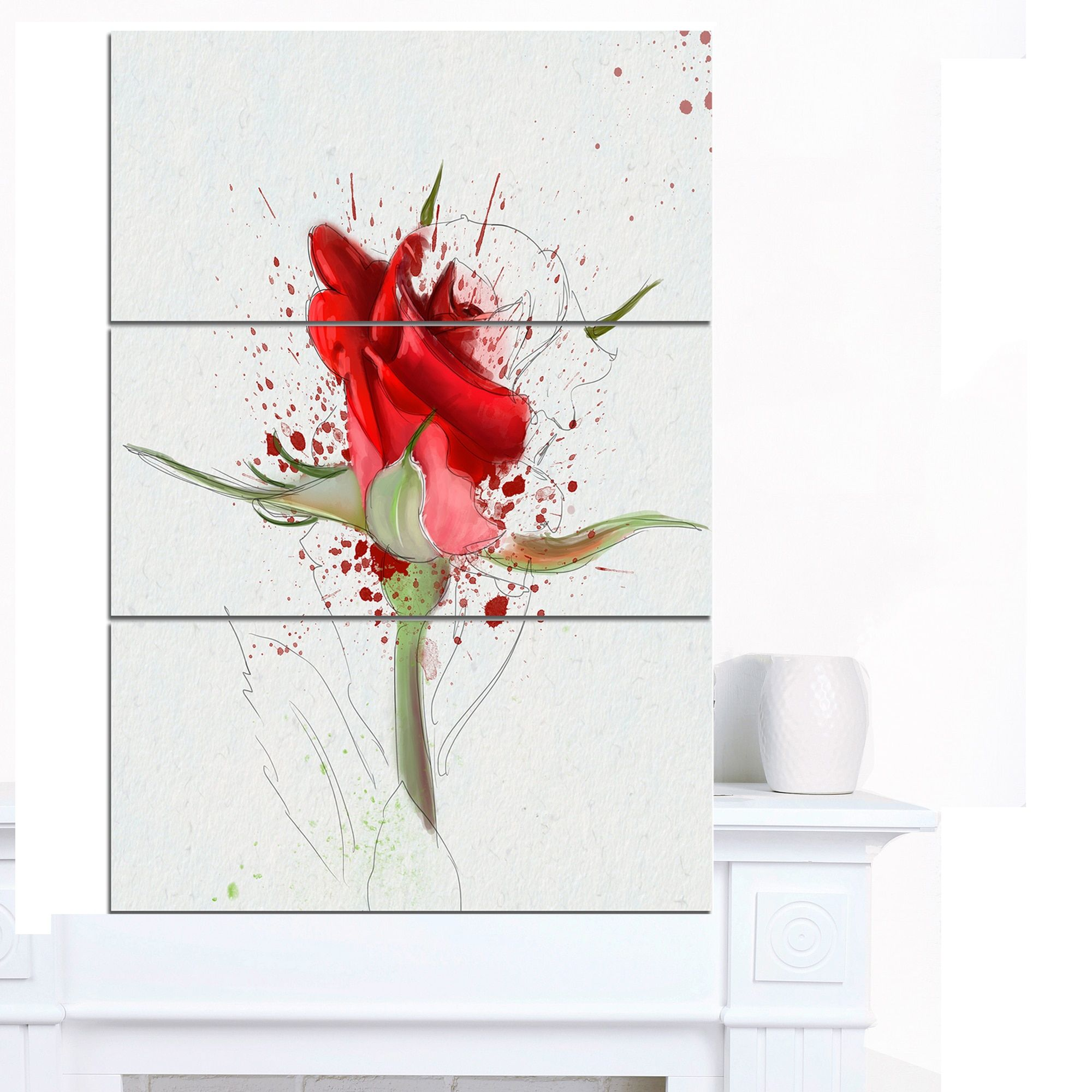 Drawn red rose art Rose by Designart Art Wall