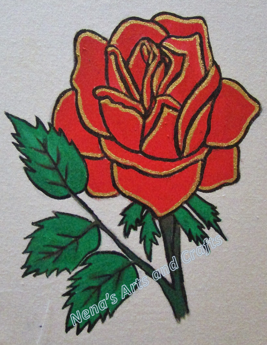 Drawn red rose base Books if not Rose coloring