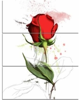 Drawn red rose basic Wrapped 'Bright on Design Illustration'