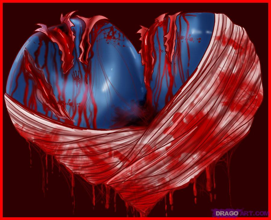 Drawn red rose bleeding love By Pop a Heart bleeding
