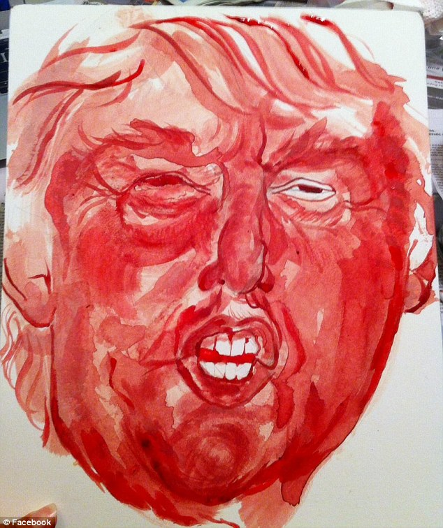 Drawn red rose bloody painter Artist artwork: Trump menstrual Artist