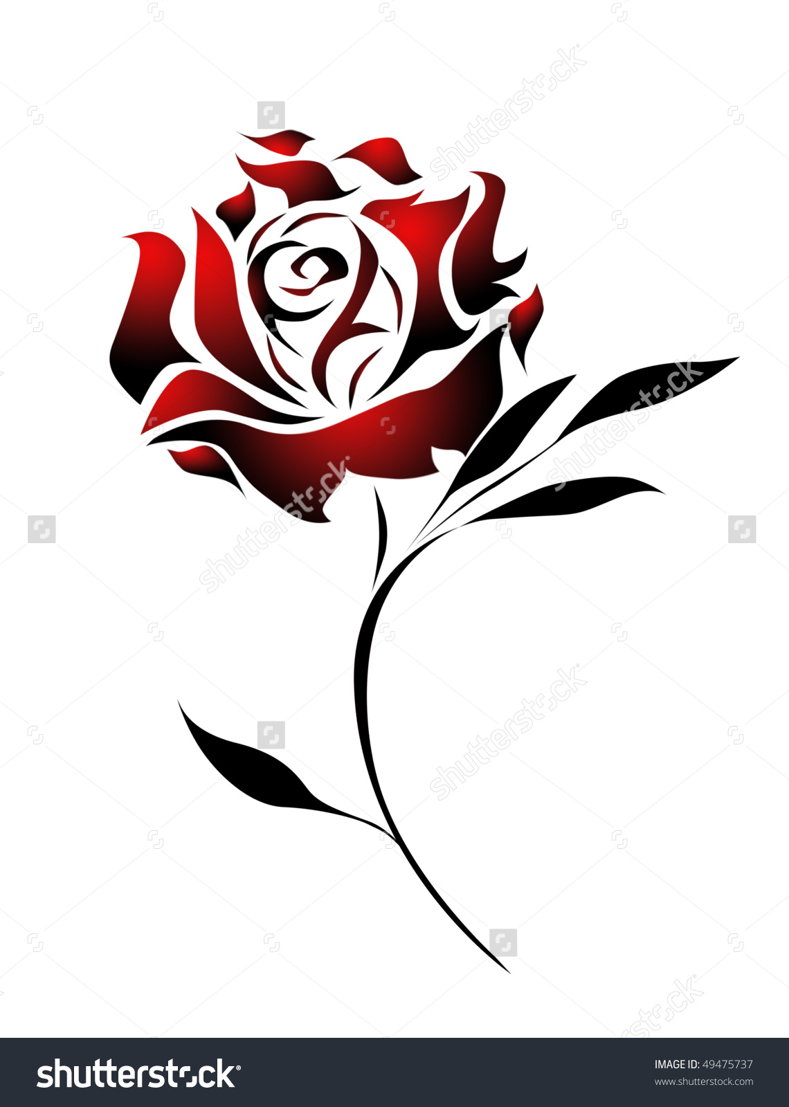 Drawn red rose branch Tattoo rose Pinterest Google Search