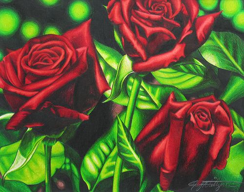 Drawn red rose color 'M' Drawing Photography beautyinmetal images