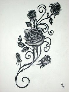 Drawn red rose dark red Vine on tattoo Vines Possible