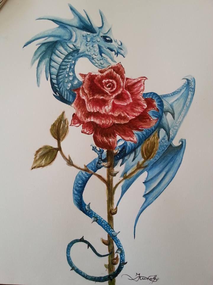 Drawn red rose deviantart Pinterest deviantART best red Dragon